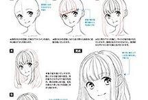 顔•髪型描き方 参考