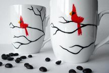 painting on cups and plates