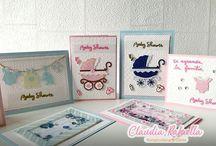 Cuatro Invitaciones para Baby Shower con un solo set de sellos