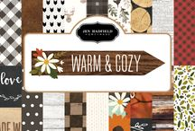 Jen Hadfield Warm & Cozy / Get ready for a fun but relaxing night at the cabin with Jen Hadfield's newest collection, Warm & Cozy. Inspired by the colors of fall and designs found in nature, this line is perfect for warming up any of your favorite spaces. This beautiful and versatile collection is ideal for home decor, quick gifts, handmade cards and so much more. / by Pebbles Inc
