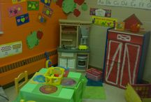 My Preschool (2 1/2-3 year old) Room / Themed Centers. I chose to share my ideas/inspiration of my  classroom because most of my room is created with things that are available from the school and from what I have... creatively thinking how I can create an atmosphere with limited supplies. / by Angie Thomas