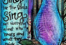 """MMMC #10 - March 2015 / The Mixed Media Monthly Challenge #10 - March 2015 """"Birds of a Feather"""""""