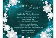 Snow Flowers Wedding Collections / Beautifully glittering white faux fabric flowers, sweet snowflakes and elegant swirls designed on custom wedding invitation cards & essentials!