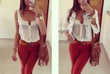 Estilo calça vermelha / Inspiração de look com calça vinho e vermelha.