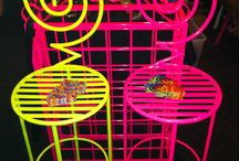 Fluro Pink / Wrought Iron and Metal Pieces that have been upcycled and powercoated into colourful new trendy pieces for your home or office. Follow me on Facebook at: I Luvv Colour