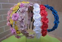 mini rosas para cintos e tiara