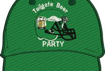 Embroidered Football team tailgate caps hats / Tailgate embroidered beer party team hats cap. Your color team and logo. If you don't see it here write to me. I will make your team tailgate adjustable hat.  Each hat is 29.99 including shipping