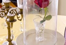 Rose hurricane centerpieces