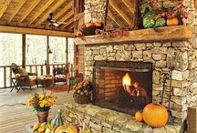 Lake house fireplace & TV / by Mindy Dawes