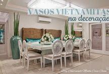 Vasos Vietnamitas na Decoração! / Veja + Inspirações e Dicas de decoração no blog!  www.construindominhacasaclean.com