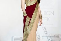 Sarees Party Wear / Use of strip creates some more value and powering royal effect. This is another beautiful stuff for party wears