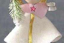 Vintage Christmas / Spun cotton, German glass glitter, snowmen, Angels, santas, feather trees