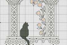 Вышивка кошки