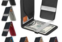Money clip leather wallet