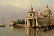 Venice paintings: Brandeis / Antonietta Brandeis (1849, Miskowitz - 1910), was an Austrian painter. Born in the province of Galicia (now part of Ukraine), the painter Lavurek of Prague was her first art teacher. Orphaned of father, her mother remarried to a Venetian. By her 20s, she had moved to Venice, where she attended the Academy of Fine Arts. She painted religious altarpieces, but her specialty were Venetian vedute, including of canals with gondalas