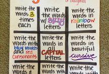 Bogstaver, ord, læsning / ideer til undervisning i bogstaver og lyd