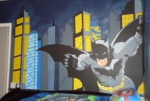 Superhero Mural #2 designed by Kid Murals by Dana Railey / This boy loved batman!  Kid Murals by Dana Railey turned it into dark Gotham City with batman flying in to his control center. The 3D pieces mimic the scene from the Dark Knight where they are trying to locate The Joker. For more pictures please visit http://www.facebook.com/kidmuralsbydanarailey or www.scottsdalemurals.com