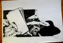 Dibujos / Lecciones de dibujo de mi amigo, primo y maestro Antonio Almazán, realizando lo que más me gusta el blanco y negro homenajeando a la historieta Alvar Mayor de la dupla Trillo-Breccia y otros increíbles artistas.