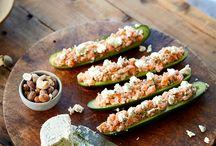 Concombres farcis au tartare de saumon et Boursin