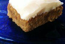BANANA WALNUT BLONDIES with VANILLA FROSTING  gluten free