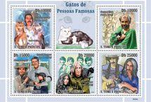 кошки на почтовых марках