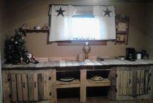Wooden plank kitchen cupboards