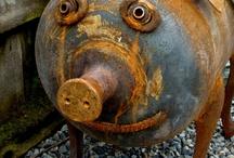 Esculturas cerdos