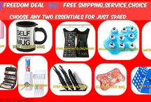 FREEDOM DEAL-->FREE SHIPPING+FREE CHOICE+FREE SERVICE / CHOOSE ANY TWO ITEMS FOR JUST 59AED AND GET FREE SHIPPING 1.Self stirring mug 2.Easy Clothes folder 3.jewellery dress organsier 4.Roll & go cosmetic organiser 5.Tooth paste dispenser 6.key chain power bank 2600mah 7.Rolling ball glove massager 8.Micro touch All in one trimmer 9.Stylish step remote holder 10.Electric hot bag