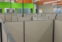 Herman Miller install / These are pictures of Herman Miller refurbished cubicles we installed in Chandler, Arizona last year. These cubes are 6x6 done in a light tan fabric with black trim.