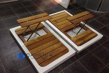 Ahşap Duş Izgarası / Paslanmaz çelik tabureli suya neme rutubete dayanıklı fırınlanmış teâk ya da iroko ağacından banyo duş havuzu ızgaraları.  www.camdusakabin.com