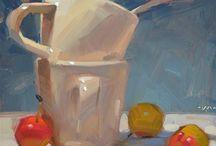 Dipinti olio e spatola