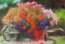 rilynsCanvas.com, small painting of rustic wheelbarrow overflowing with flowers.