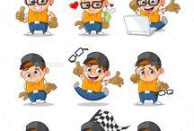 Mascot character set