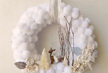 white pompom wreath