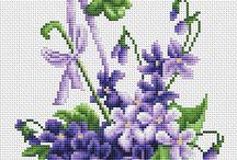 Needlepoint - Violets