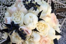 White, light blue, pink and black wedding