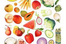 Alimentos / Ilustrações de frutas, verduras, doces, etc.