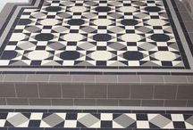 Modern Geometric tile designs / Examples of more contemporary geometric tile installations using our range of dust pressed ceramic tiles and sheeting system.
