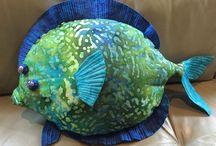 Florida Animal Cushions / Handmade cushions by Linda Kish inspired by Florida birds and Marine life
