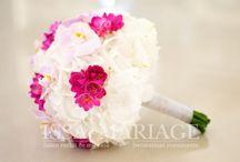 Buchet mireasa din hortensia si orhidee roz / aranjamente din hortensia si orhidee roz