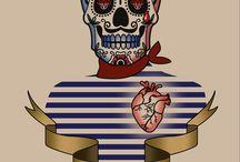 Tatouages / Modèles de tatouage dessiné mar moyens infographiques.