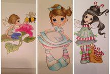 My own coloring of stamps / Dette er mine egne fargelegginger av forskjellige figurer...