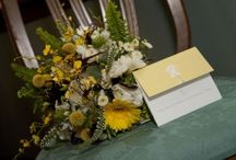 Yellow, Birds and Feathers Wedding / An intimate wedding using long tables decorated with everything feathers and birds!