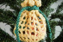 crocheted Santa sack christmas tree ornament