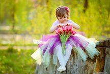 Kid, flowers, sun
