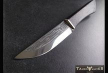 Balck Coffin knife / Handmade knife with acid etched blade. Dyed zebrano wood and nickel silver handle.  www.tauroknives.com