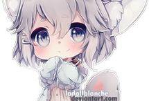 niños y niñas con disfraces de animales (anime)