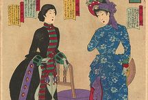 Western Fashion in Japanese Woodblock Prints / I love the adaptation of Western fashion by the Japanese...easily recognizable styles from Europe, but made with printed fabrics that are distinctively Japanese. The bright colours, mixing of prints, and little Japanese style touches, like the red flashes at the collar and down the centre front of bodices that mimic the layered look of kimono collars. :) Love it! Someday, I'll have a dress like this.