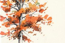 Watercolour trees