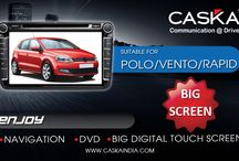 Caska India suitable for Volkswagen / Best selling all in one GPS Navigation system in INDIA at best prices. Features Touchscreen, Audio, Video, Music player. Add on Rear camera and tyre pressure monitoring System for VW Polo.